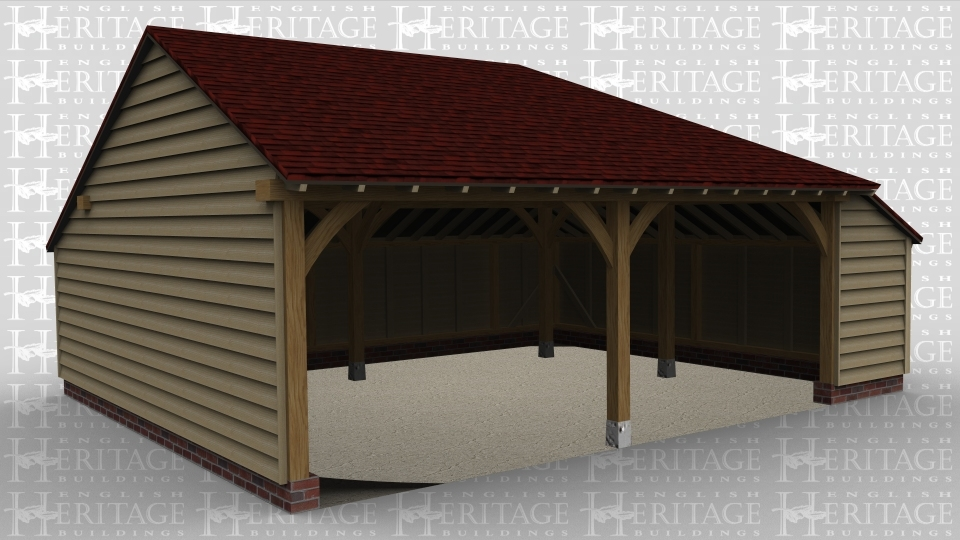 A 2 bay oak frame garage with open at the front with an internal aisle on the right.