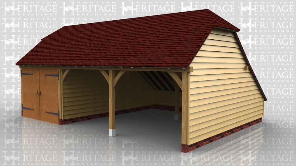 A 3 bay oak frame garage with 2 open bays and an enclosed one with garage doors and an internal aisle at the rear.