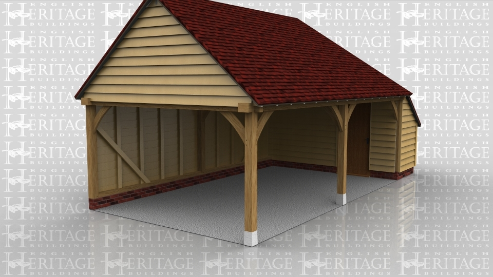 A 2 bay oak frame garage left open at the front and on the left with an internal aisle on  the right with a solid single door on the left allow acess between the garage and stonrage area as well as a door on the rear.