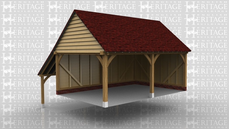 A 2 bay oak frame garage open at the front with an external aisle at the rear.