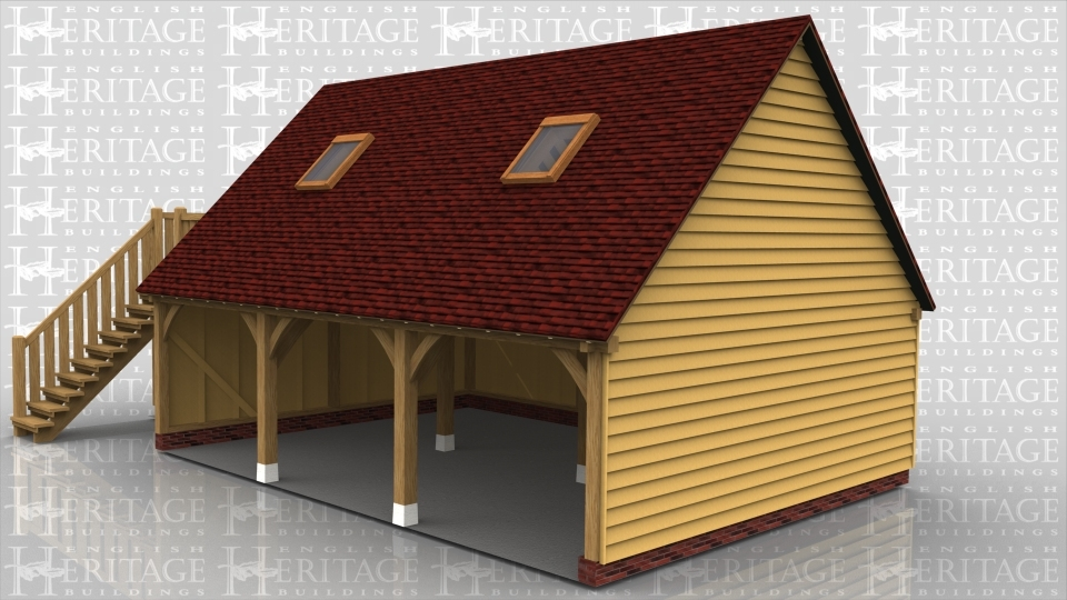 A 3 bay oak framed garage with upper floor. On the ground floor all open bays at the front as well as an external staircase on the left with balcony, leading to the first floor. On the first floor there is a pair of full height glazed garden room doors alongside glazing in the gable end of the building and 2 rooflights on the front of the building to allow the natural light to enter the room.