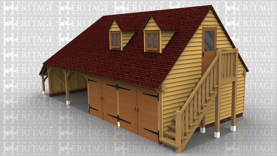 A 4 bay oak framed garage with upper floor. The ground floor has 2 bays open at the front and 2 that are enclosed with a pair of garage doors on the front of each, on the left is an external aisle and on the right is an external oak frame staircase leading to the first floor. On the first floor is a half glazed single door on the right and on the front are 2 dormers each containing a 2 light window.