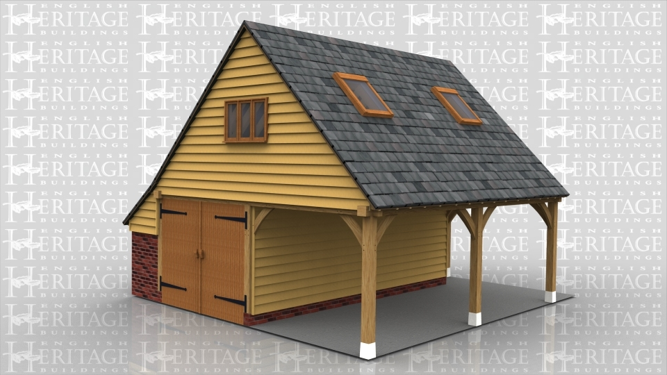 An oak framed garage with a open bay and a closed bay with garage doors. The ground floor also has an external staircase leading to the first floor. On the first floor there is a window to the front of the building and 2 roof lights to allow the natural light in the room.
