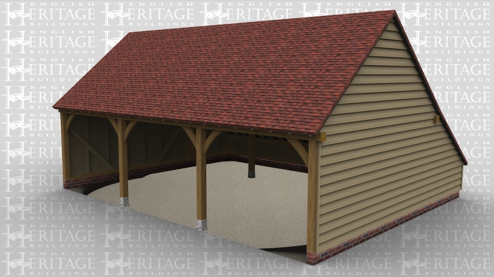 A three bay oak frame garage with an open front end and a large rear catslide