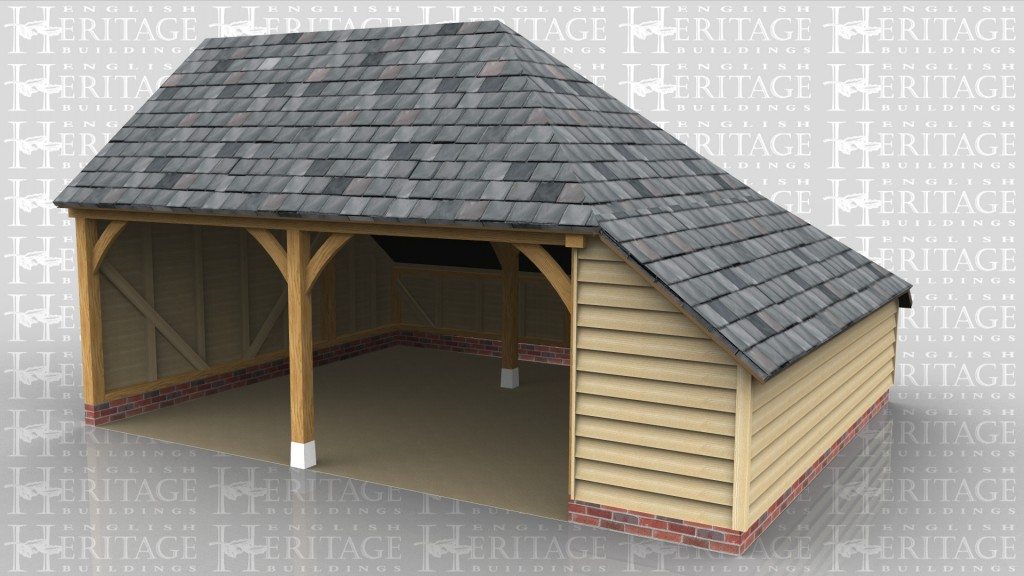 A 2 bay oak frame garage with one open wall at the front as well as an aisle on the right. and another at the rear. this building has a gable ended roof on the left and a full hip on the right.