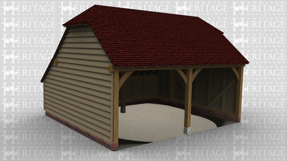 a two bay oak frame garage that is open at the front and has a barn hip style roof on both ends