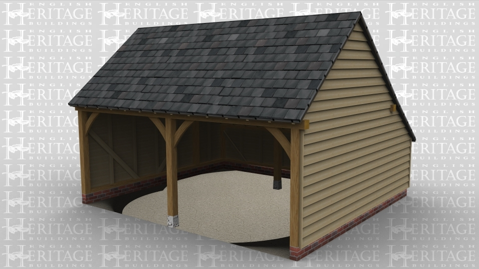 A simple 2 bay open ended oak frame garage with a slate roof and a rear catslide.