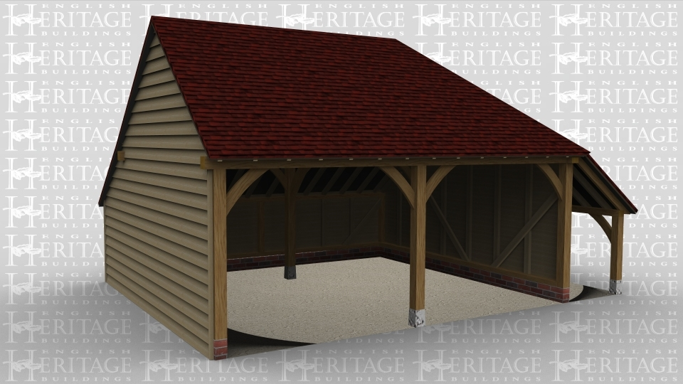 A two bay open ended oak frame garage with an external aisle attached to the right of the building. This frame has a gable ended roof at one end and a full hip style roof at the other.