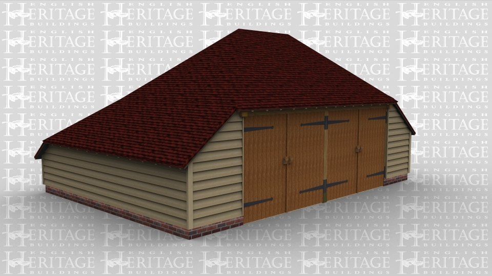 A two bay oak frame garage with garage doors on the front of each bay. This building has an internal aisle on both the left and  right of the frame as well as a rear catslide