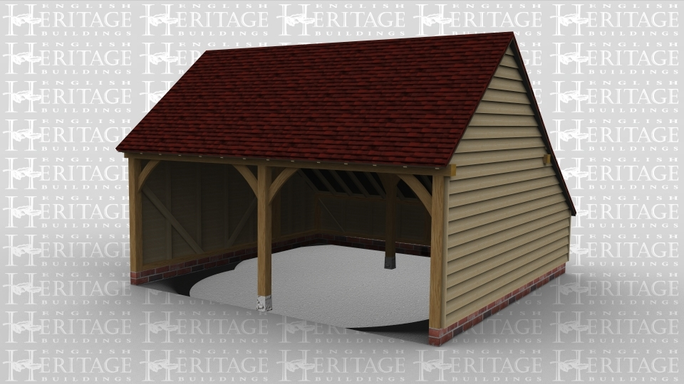 A simple oak frame garage with two open ended bays .