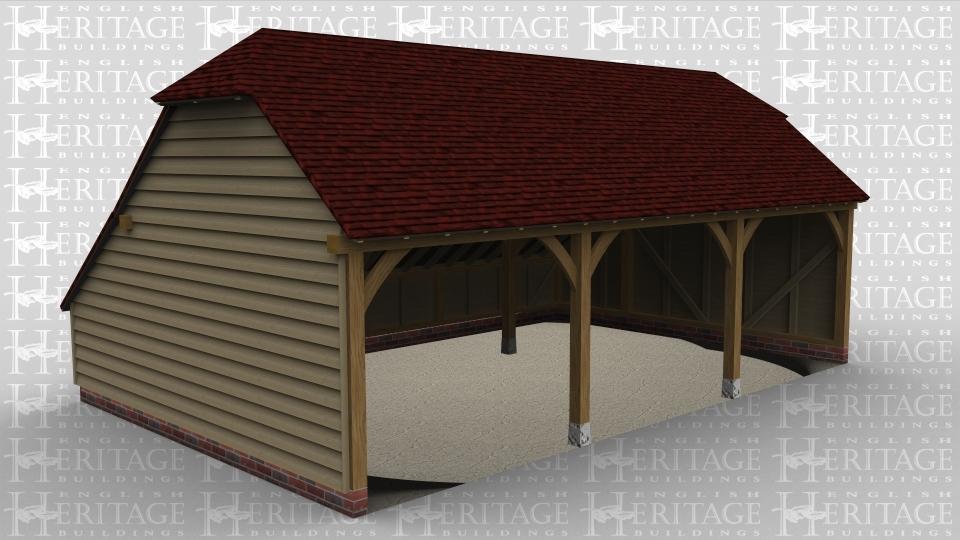 A three bay open ended garage with barn hip style roof ends