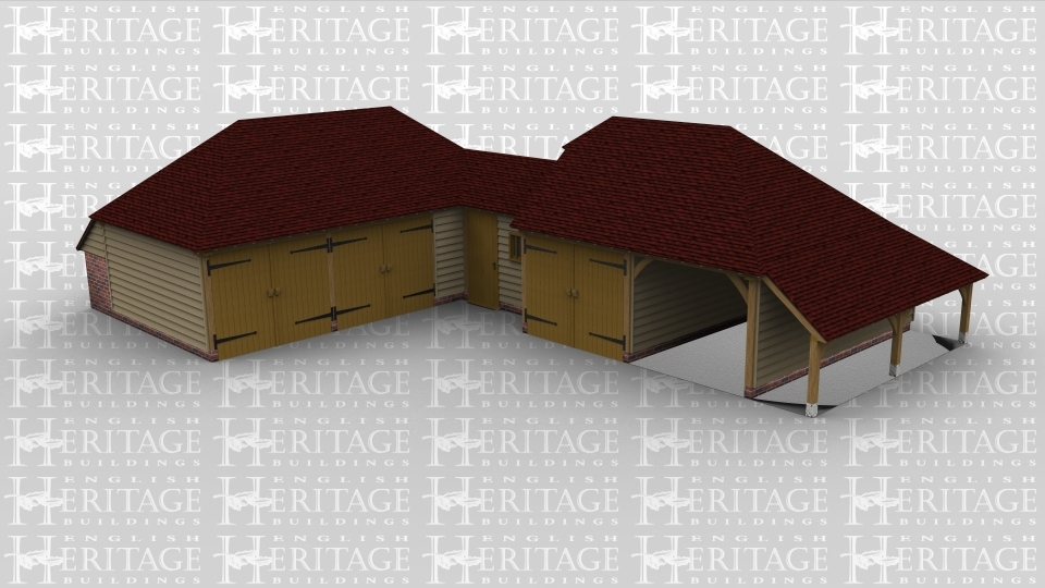 A six bay oak fram complex with three frames. the first is a 3 bay garage area with 2 bays enclosed by iroko garage doors while the third bay creates room for storage. The second frame of this building connects the two other frames, it is a single bay with a single door and mullion style window to the front . The third frame is another garage space, this time with two bays, one bay is enclosed by a set of garage doors and an internal partition between the bays while the other has an open end at the front and has an outshot attached on the right hand side