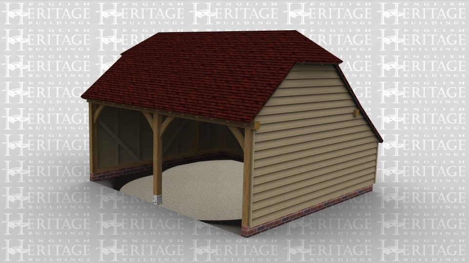An oak framed two bay open ended garage with a barn hip style roof on both ends.
