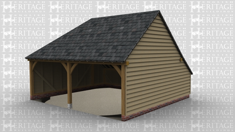 A two bay oak framed garage which is open at the front, this building has a slate roof with full hip style roofing on the left and a gable end on the right.
