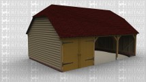 A three bay oak framed garage with one bay enclosed with an internal partition separating it from the other bays and a garage door on the front, the other two bays have an open end at the front .