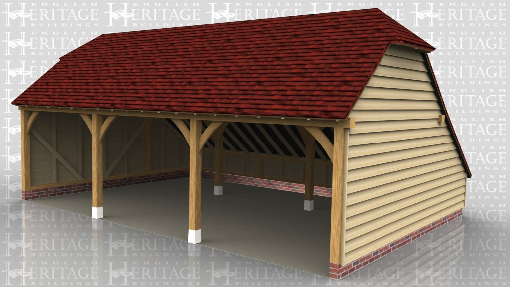 A three bay oak framed garage with an open end at the front, the roof on this building has a barn hip style roof on both the left and right.