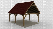 A 2 bay oak frame car port with extended gables and is open on all sides.