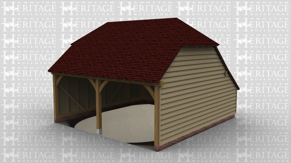 A two bay open ended oak framed garage with barn hip style roofing on both the left and right of the building