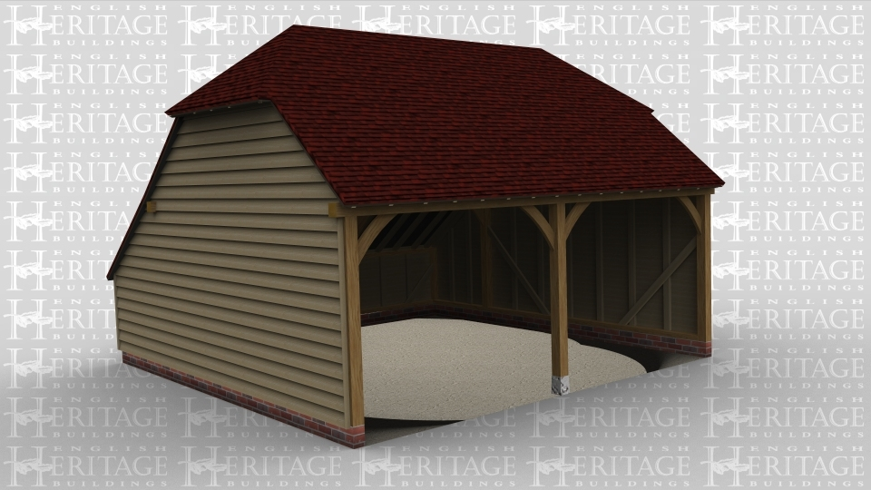 A three bay oak framed garage open at the front with an internal aisle on the left and another on the rear.