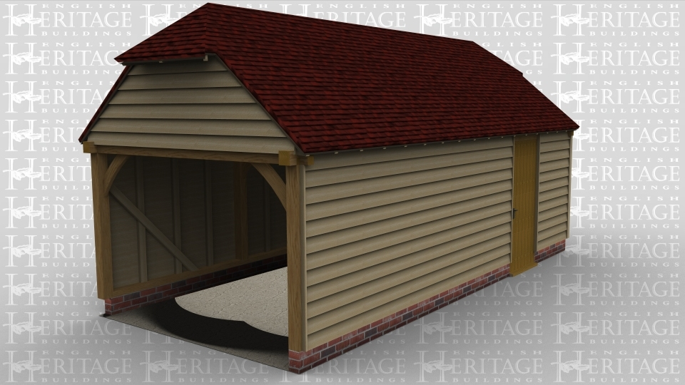 A three bay oak framed building with barn hip style roofing on both ends. This building is open on the left hand side and also has a single door on the front of the building and a window on the right to allow the natural light in