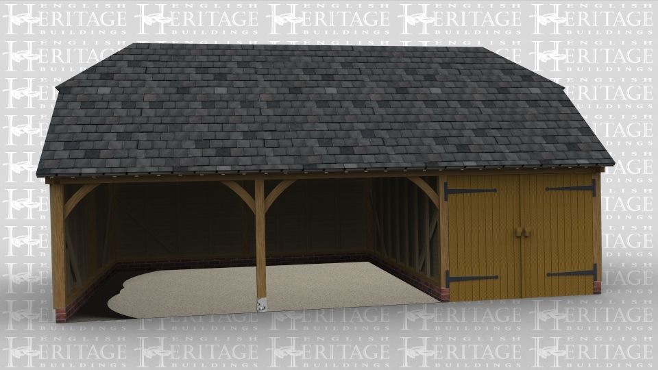 A three bay oak framed garage with two bays open at the front and the third with iroko garage doors and an internal partition. The building has barn hip roofing on both the left and right hand side.