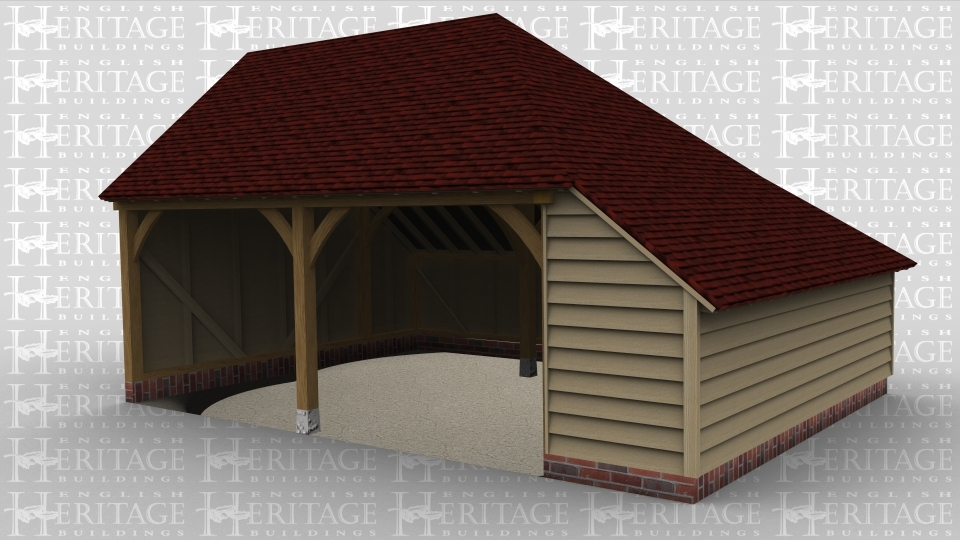 A two bay oak framed garage open at the front with an internal aisle on the right of the building