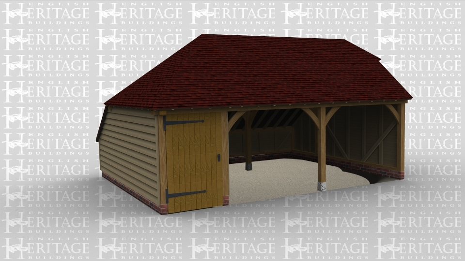 A three bay oak framed garage with two bays open ended at the front and another with an internal partition and a solid single door on the front of the bay.