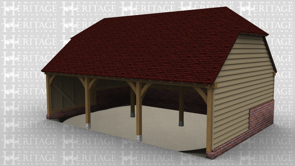 A three bay oak framed garage open at the front with  barn hip style roofing on both the left and right of the building