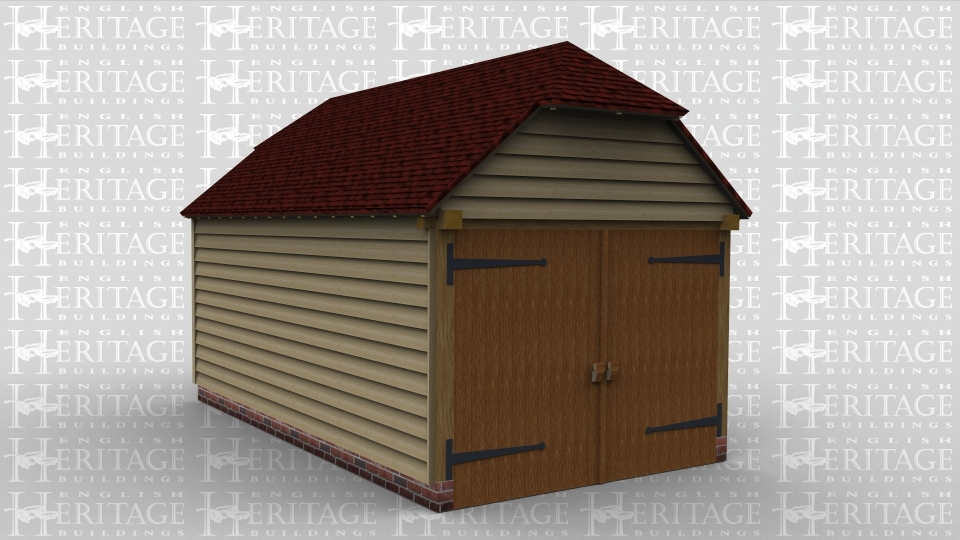 A single oak framed garage with one set of garage doors in the front of the building and a single door to the rear