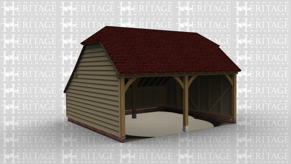 A two bay oak framed garage open at the front  with an aisle to the rear and barn hip roofing on the left and right of the building