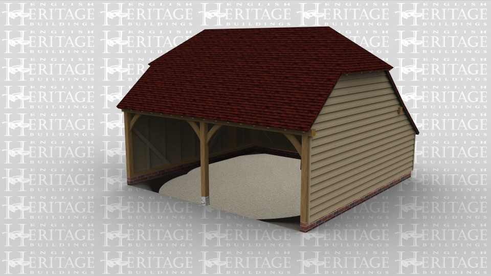 A two bay oak framed garage that is open at the front and  has a barn hip roof on both the left and right of the building