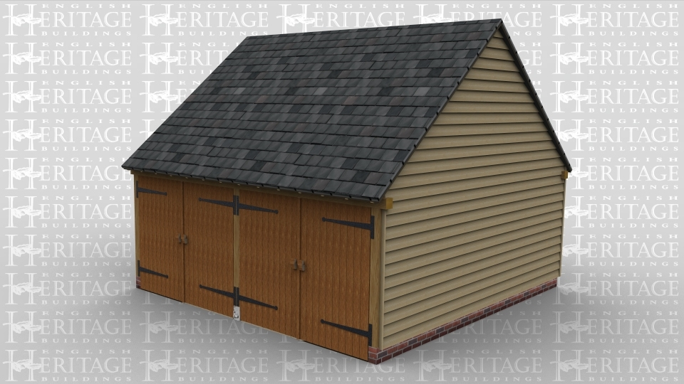 A two bay oak framed garage with a set of garage doors at the front of each bay.