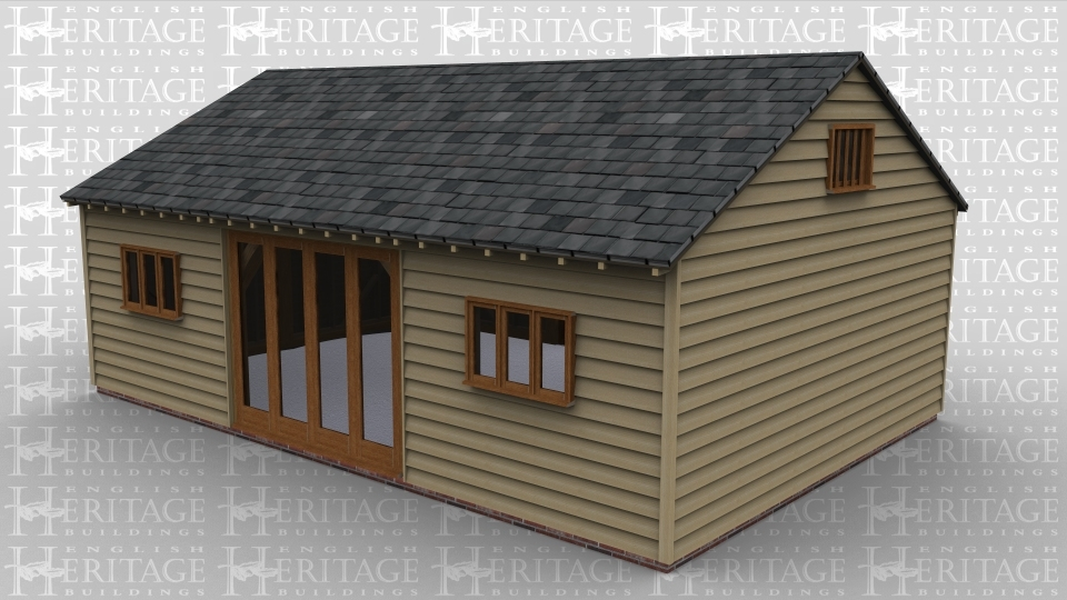 A three bay oak framed leisure building with a half glazed door, patio doors and a smaller 3 light window on the front of the frame to allow plenty of natural light into the building, there is also a small mullion window on the right side of the building.