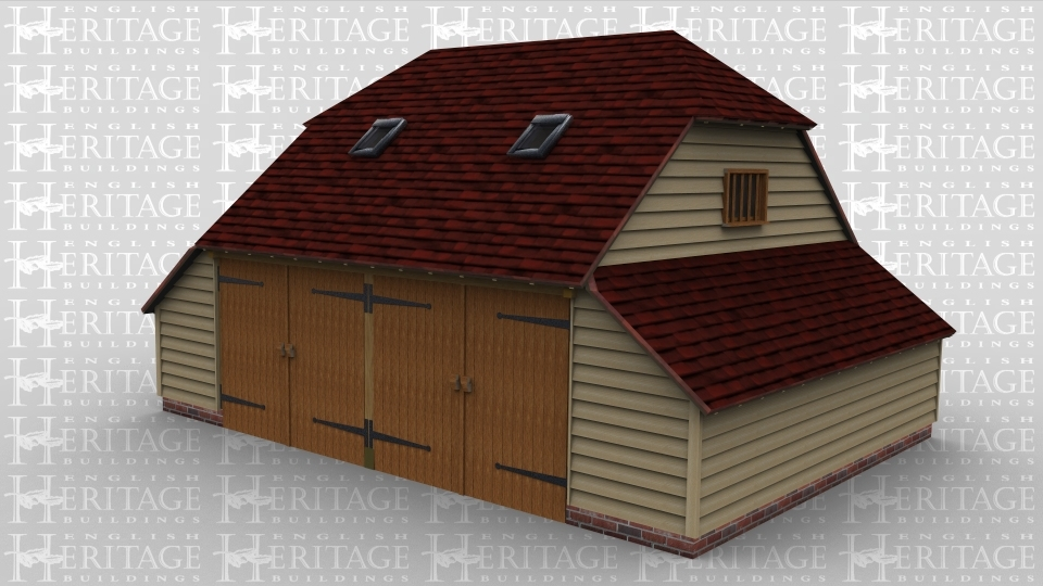 A two bay oak framed garage with a pair of garage doors on the front of each bay and a three light window on the rear of each bay. This building also has barn hip roof ends on both the left and right as well as an internal aisle on each side. There are 2 velux rooflights on the front of the building and a mullion window on both the left and right side of the frame.