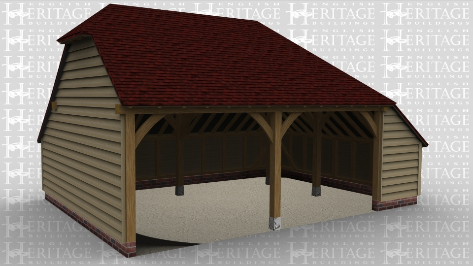 A two bay oak framed garage open at the front with an internal aisle on the right hand side.