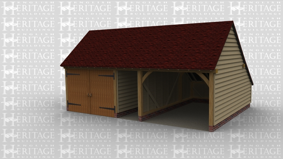 A three bay oak framed garage with a pair of garage doors on the front of the first bay aswell as a sheltered are with feature truss on the rear. The second bay is a walkway between the two adjacent bays, the third and final bay is open at the front and has a rear enclosed aisle.