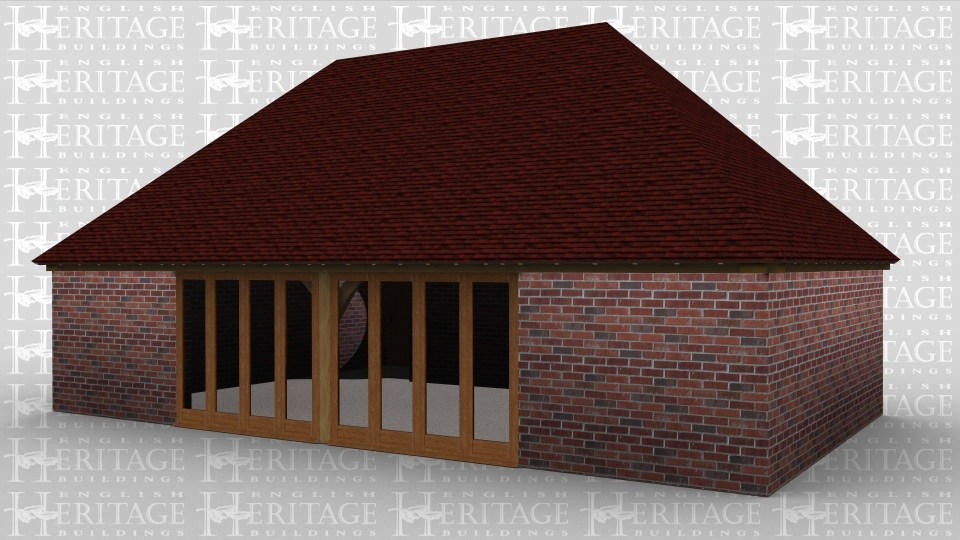 A 5 bay oak framed building made up of 2 frames. The first frame is 4 bays in size with solid brick walls on all sides. At the front of the frame are 8 panes of full height glazing to allows plenty of natural light into the building. The second frame is a single bay in size with brick walls on all sides, there is a a solid single door allowing access to the  building.
