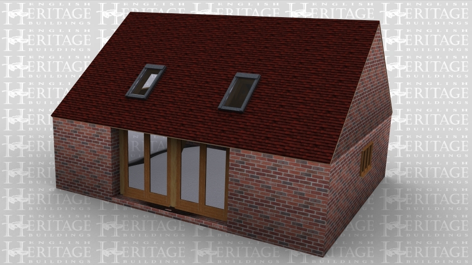 A two bay oak framed home extension with solid brick wall around the entire building. The left hand side is left open to allow it to be attached to an existing building, on the front there is a four pane full height glazed window and two velux rooflights to allow the natural light into the extension. the rear of the building has a further two velux rooflights and on the right hand side of the building is a 3 light window.