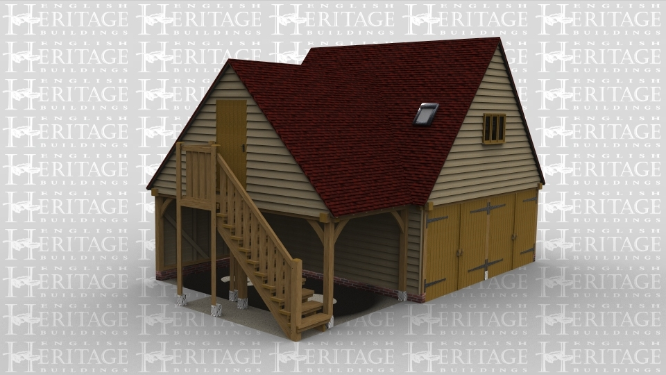 A 3 bay oak frame garage with a first floor. The ground floor has two sets of iroko garage doors on the front of the building each covering a bay with teh third bay open on two sides and connecting to it is an external staircase leading to the first floor of the building. On the first floor is a solid single door at the top of the staircase on the left on the building, on the rear is a small velux roof light and a 2 light window. On the right hand side of the building is another velux rooflight and also one on the left hand side of the first frame, there is also a three light window on the front of the frame above the garage doors.