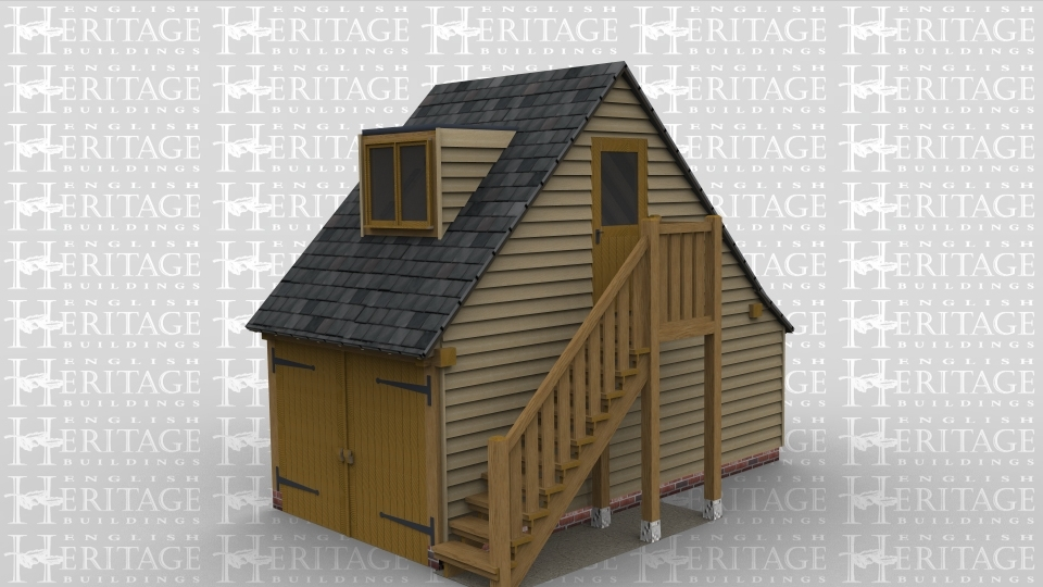 Single Bay Oak Frame Garage 2 Storeys External