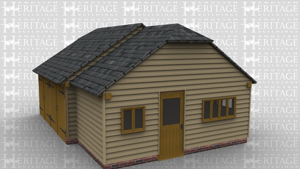 A three bay oak framed garage with two of the bays being garages with iroko garage doors on the front and an internal aisle on the rear. the third bay is more of a storage area with a half glazed single door on the right as well as both a two light window and a four light window on the right and another four light on the rear , these allow for plenty of natural light to come into the room .