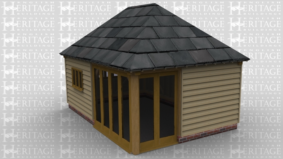A two bay oak framed leisure building with a three light window on the front as well as a section of full height glazing. The right hand wall also has an area of full height glazing, on the left there is a  single three light window.