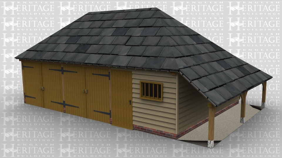 A three bay oak framed garage with iroko garage doors on the front of two of the bays, the third bay is a storage area with a solid single door and a mullion window on the front, there is also an external aisle on the right of the building.