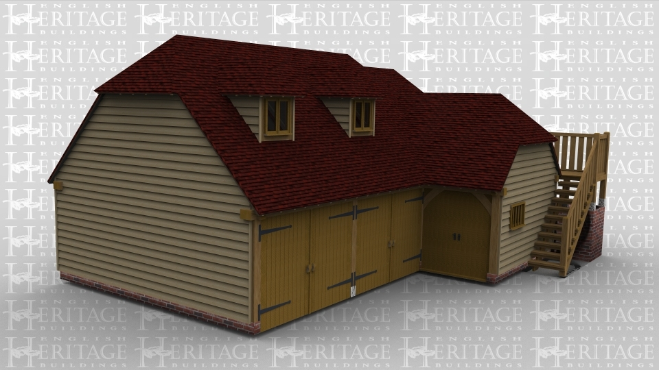 A four bay oak framed garage with an upper floor. On the ground floor the first 2 bays have garage doors on the front and attached to the front of the building is single bay with a pair of doors and a single mullion window. There is a balcony with two external staircases leading to the first floor, access is through a barn entrance with a single door . On the first floor is 2 dormer windows on the front.