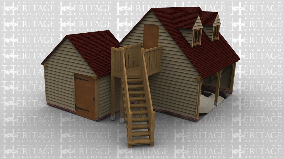 A 3 bay oak framed garage/complex made up of two frames and staircase. The first of the two frames is a  storage room with a solid single door on the left. The second frame is a 2 bay garage with an upper floor. On the ground floor is a garage area open at the front, the staircase leads to the first floor, on the first floor is a solid single door on the left and two dormer windows on the front.