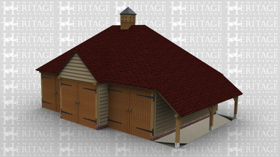 A three bay oak framed garage with a pair of garage doors over the front of each bay, the middle bay has a barn entrance at the front and projects out further than the other two which gives a nice feature to the building. This building has an external aisle to the right and a dovecote on the roof.