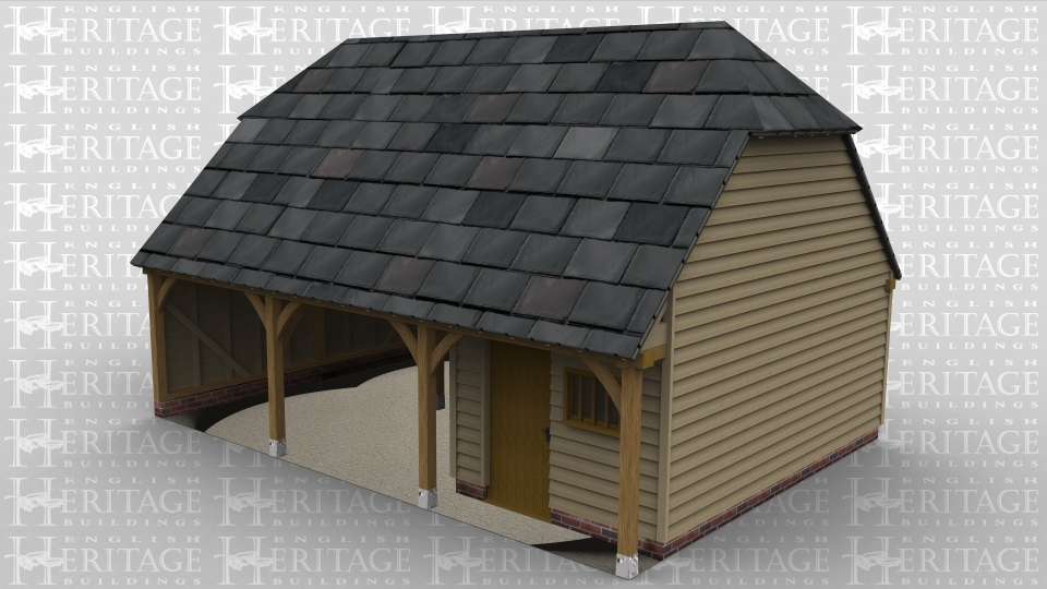 A three bay oak framed garage with two bays open at the front while the third has a setback partition and a  solid single door and mullion window at the front as well as a solid single door at the rear.
