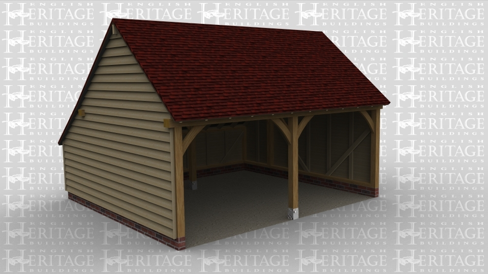 A two bay oak framed garage open at the front.