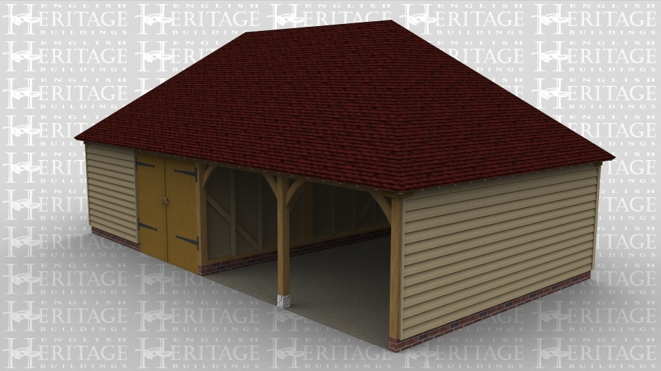 A four bay oak frame garage with two of the bays open at the front, 1 bay with barn doors and the fourth with weatherboard on the front creating a larger closed inside space.