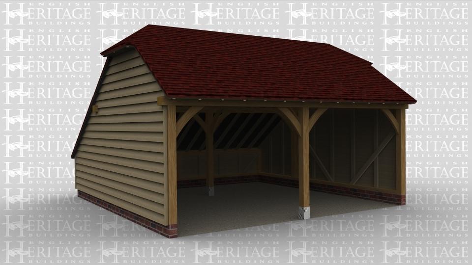 A 2 bay oak framed garage open at the front.